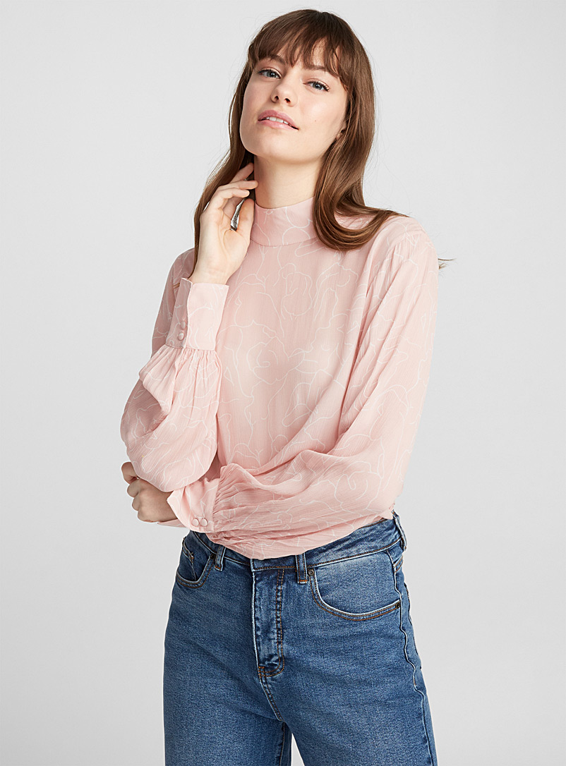 Pleated high-neck blouse - Blouses - Pink