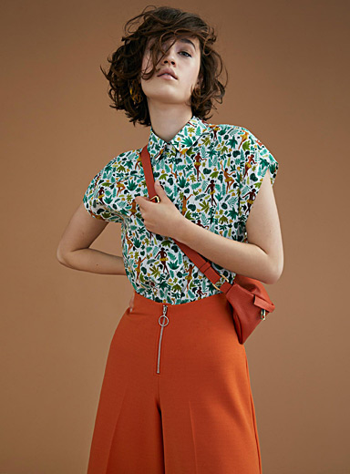Summer-print boxy shirt