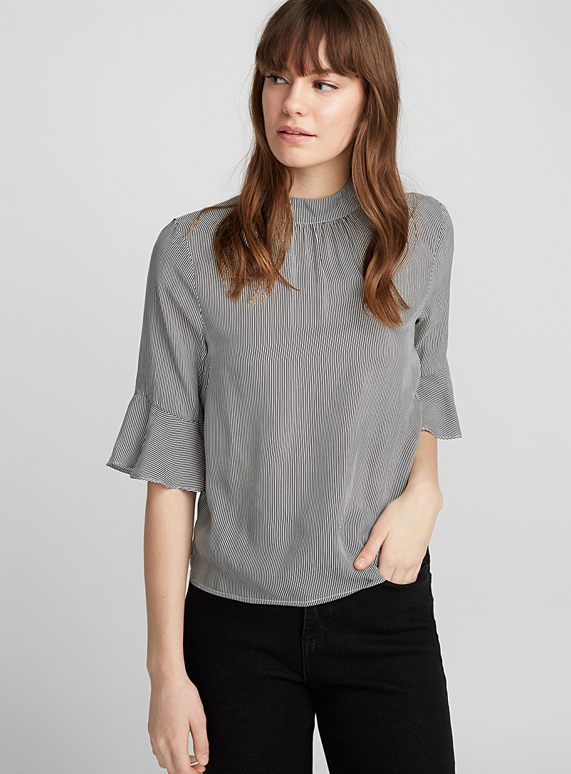 Optical stripe ruffle-sleeve blouse - Blouses - Black and White