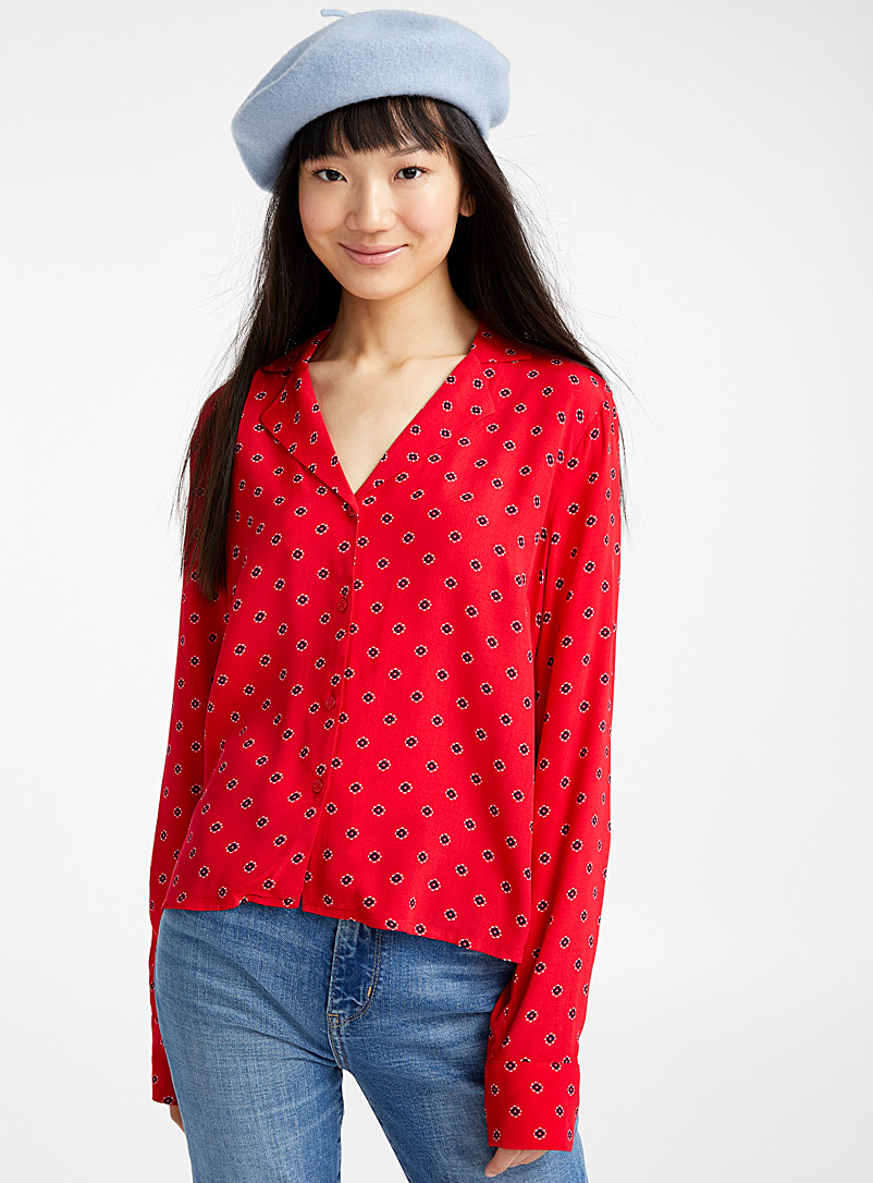 Printed bowling shirt - Shirts - Red