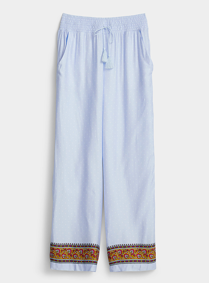 Miiyu Baby Blue Tapestry ankle-stripe pant for women