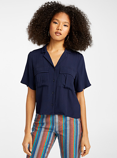 Flap pocket bowling shirt