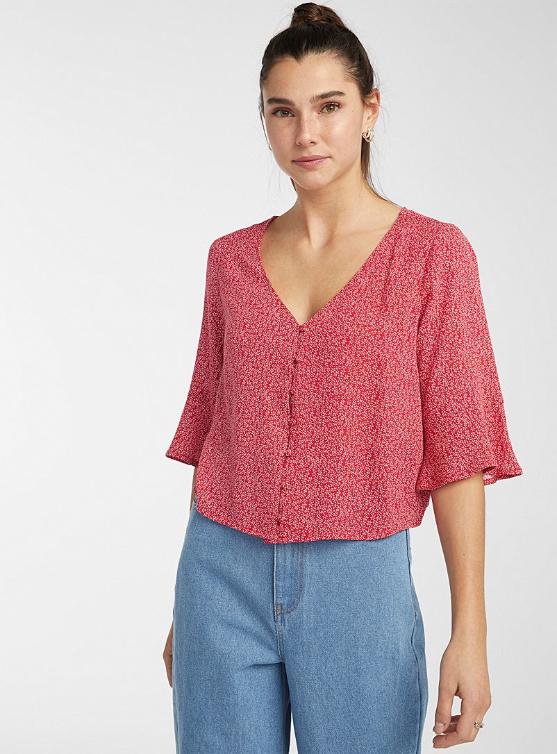 Twik Red Buttoned printed V-neck blouse for women