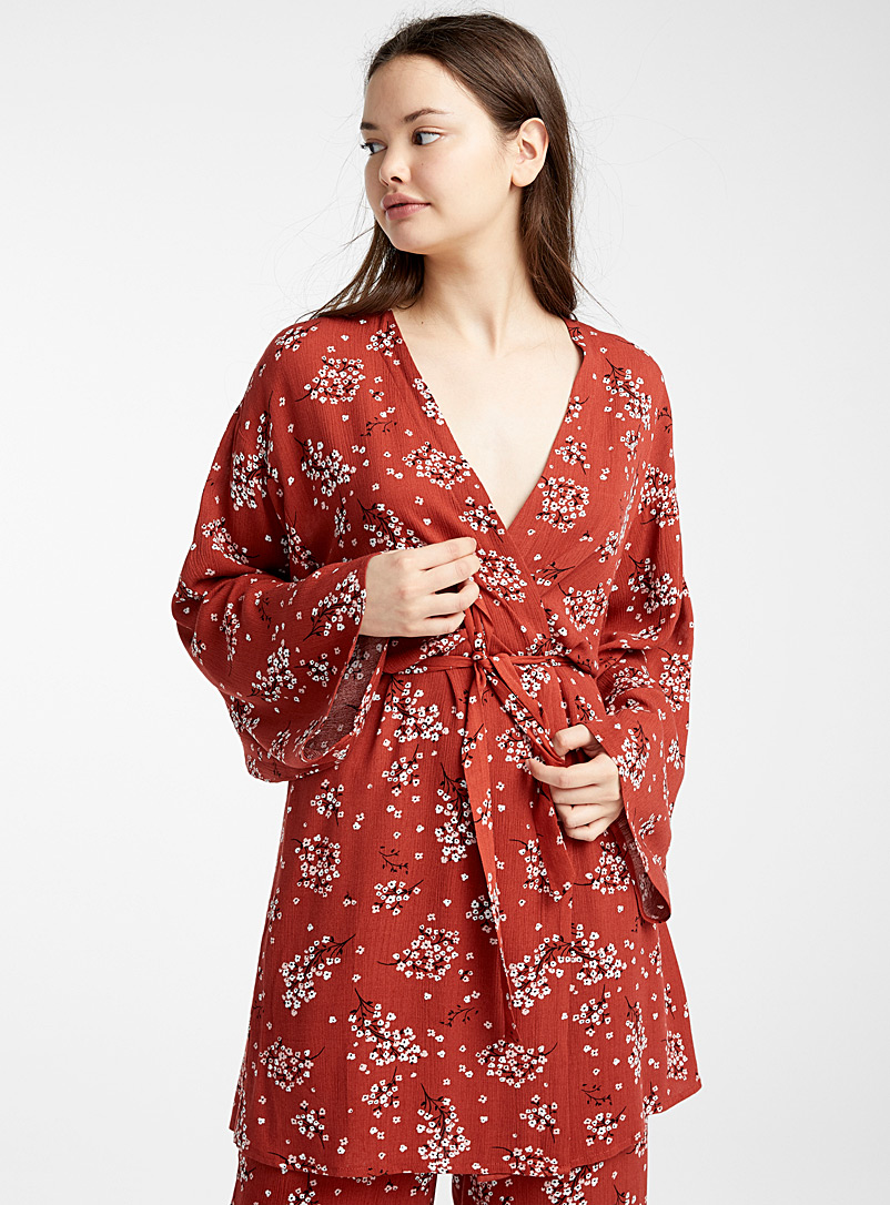 Miiyu x Twik Patterned Red Pretty blossom fluid robe for women