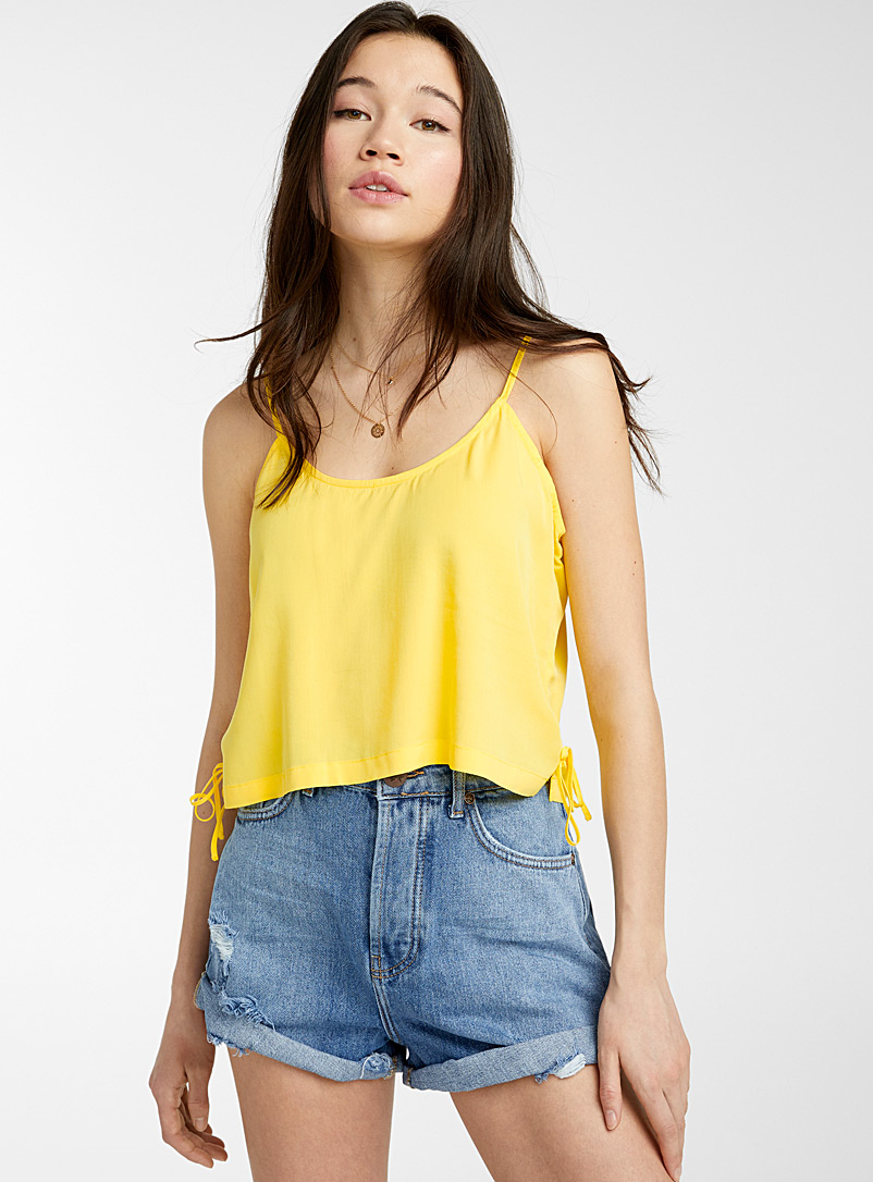 Twik Bright Yellow Accent-bow cami for women