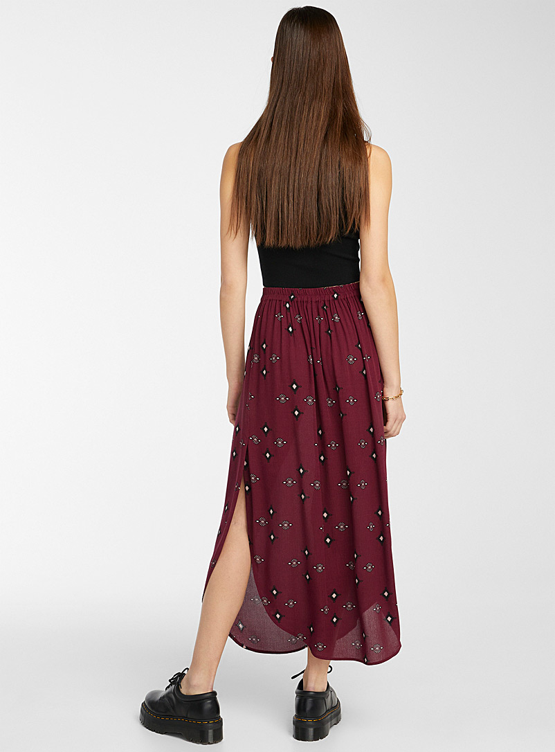 Twik Ruby Red Eco-friendly crinkled viscose skirt for women