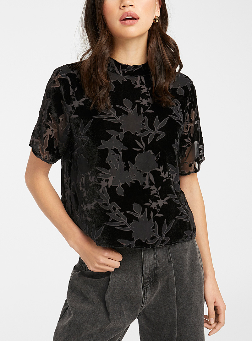 Sheer tapestry velvet blouse