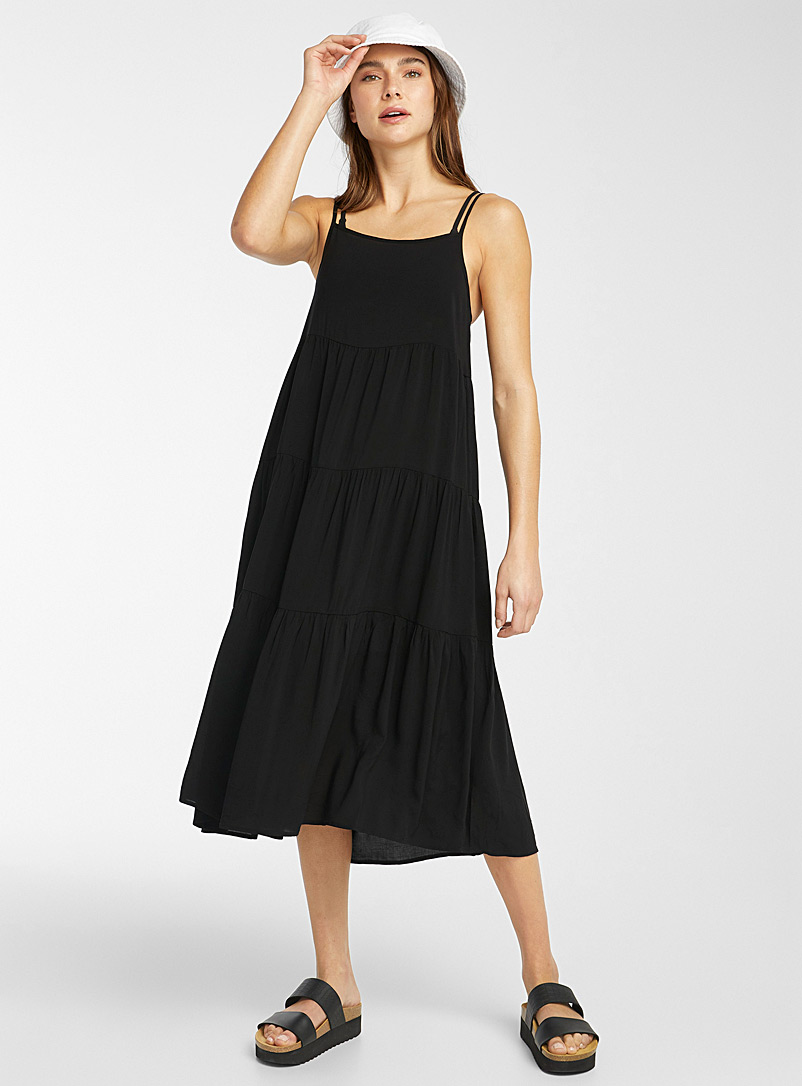Simons Black Lightweight ruffled eco-friendly viscose dress for women