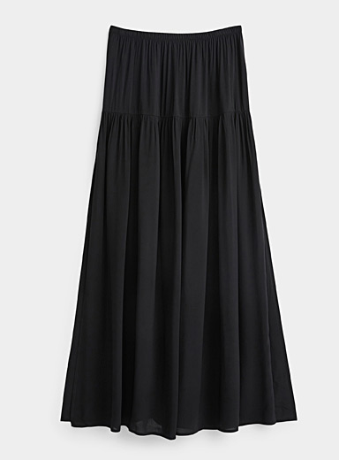Eco-friendly viscose ruffled maxi skirt