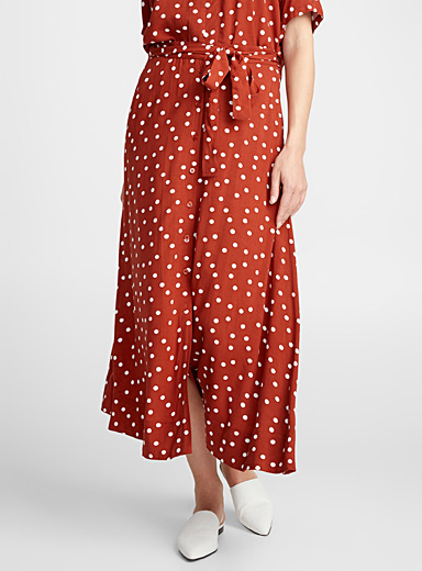 Printed buttoned maxi skirt