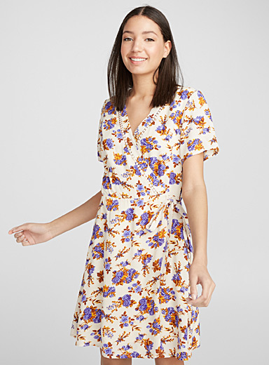 Summer print wrap dress