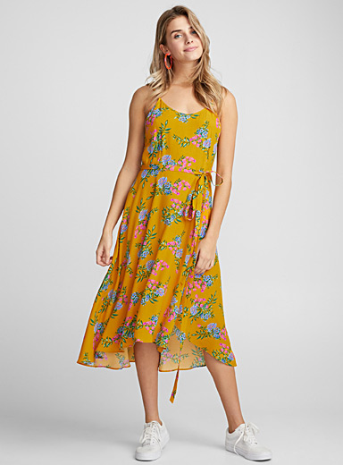Tie-waist viscose dress