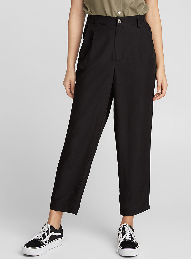 Modal-touch pleated pant - Semi-Slim - Black