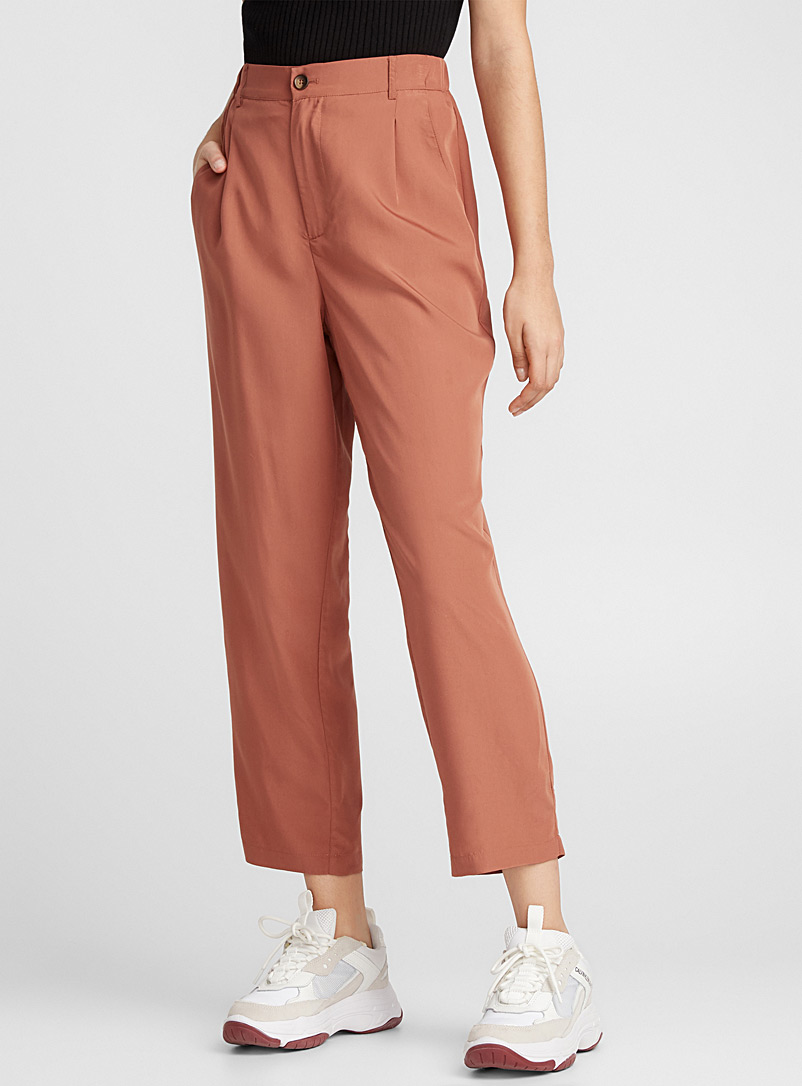 Modal-touch pleated pant - Semi-Slim - Copper