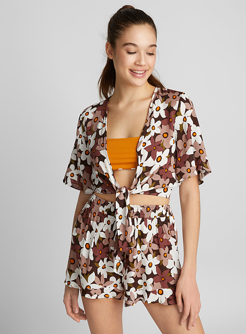 Knotted fluid top - Beach Cover-Ups - Patterned Brown