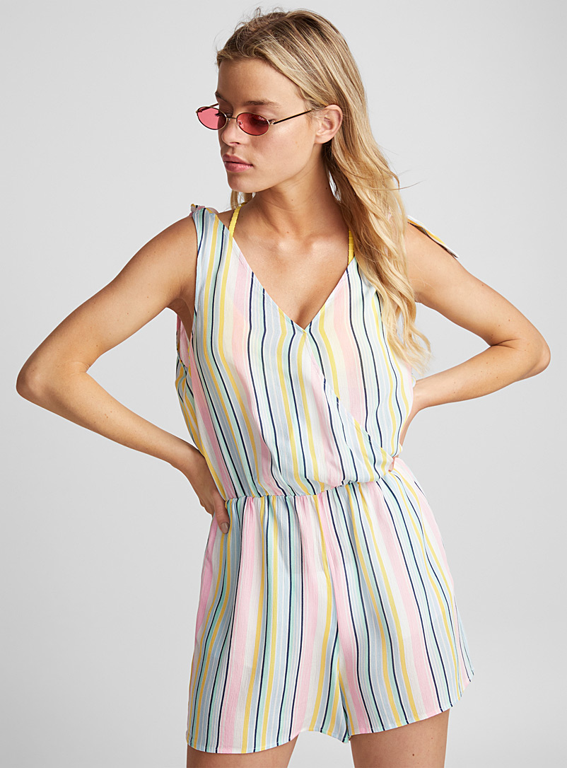 Tie-strap romper - Rompers - Patterned White