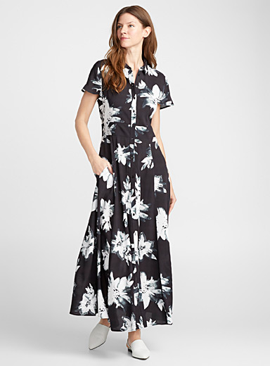 Fluid maxi shirtdress