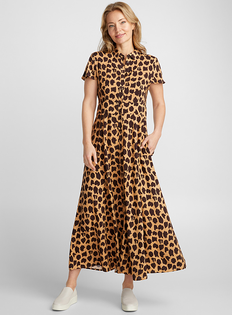Fluid maxi shirtdress - Fit & Flare - Patterned Brown