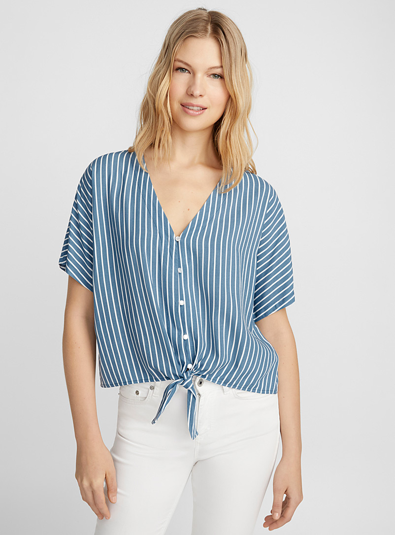 Printed tie-waist blouse - Blouses - Patterned Blue