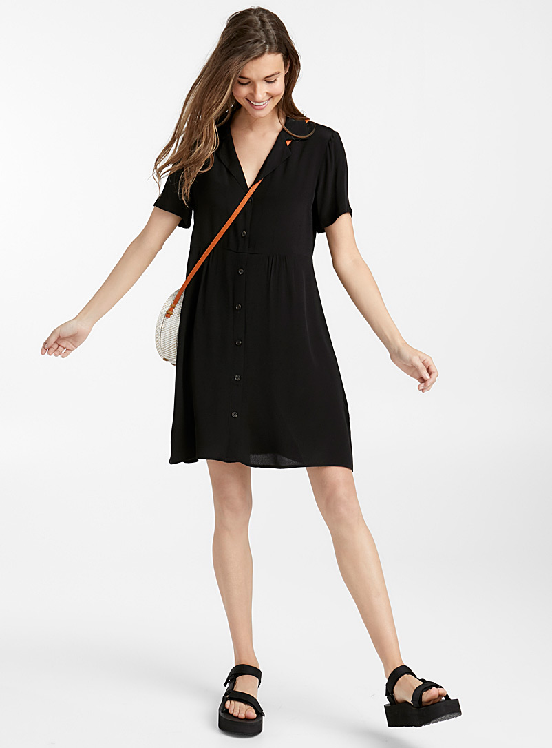 Buttoned bowling dress - Fit & Flare - Black