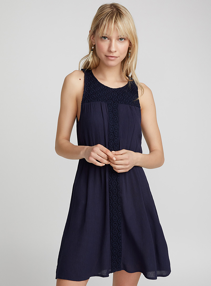 Geo embroidery dress - Mini - Marine Blue