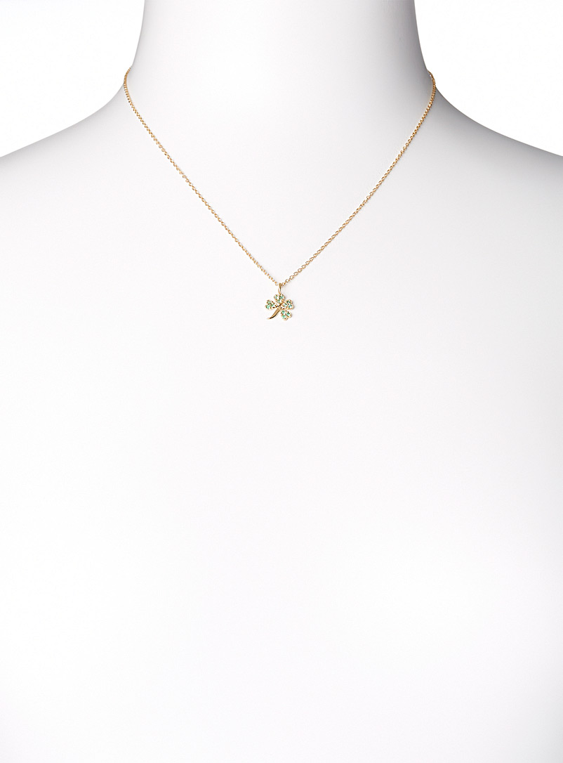 Trois petits points Patterned Yellow Emerald lucky charm necklace for women