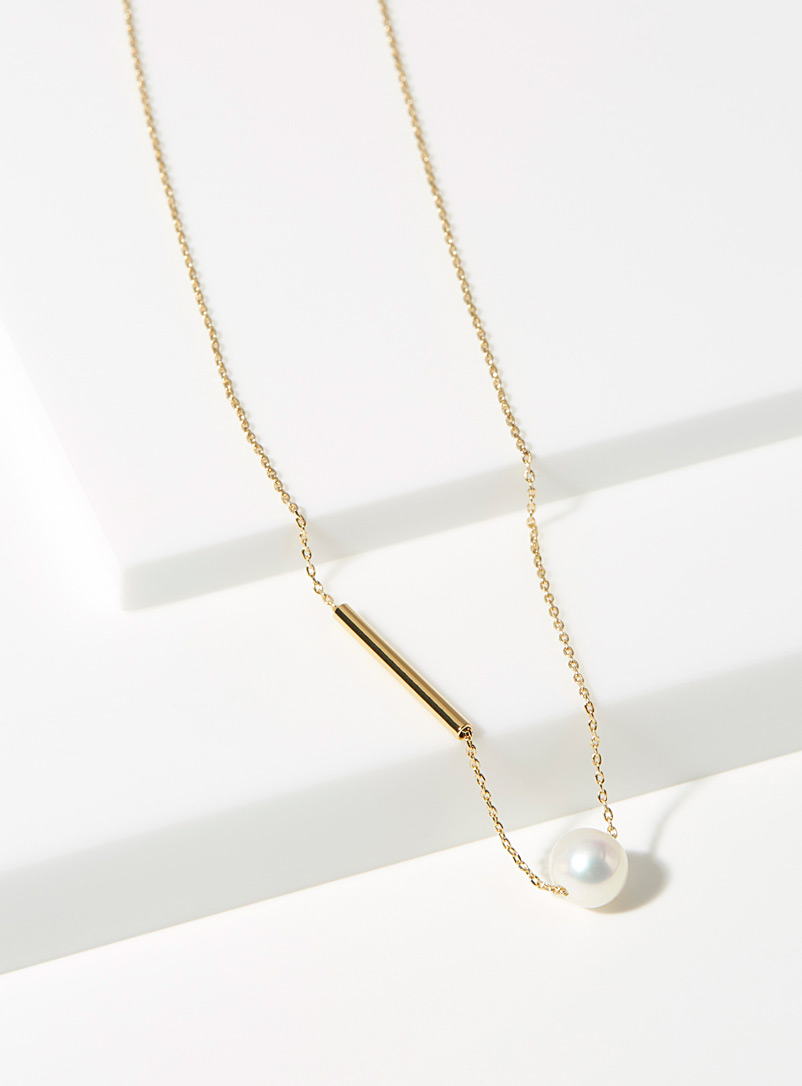 Trois petits points Assorted Golden pearl necklace for women