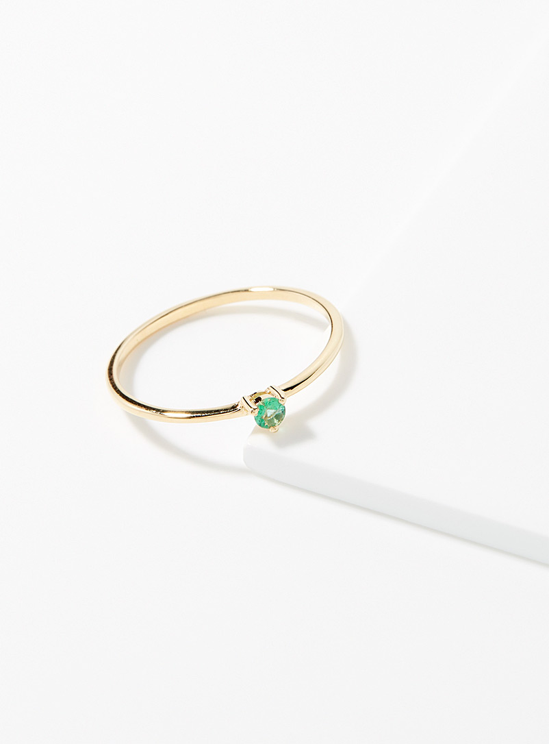 Trois petits points Patterned Yellow Precious emerald ring for women