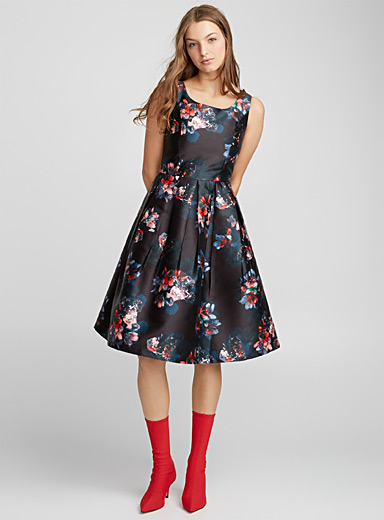 Exotic garden fit-and-flare dress