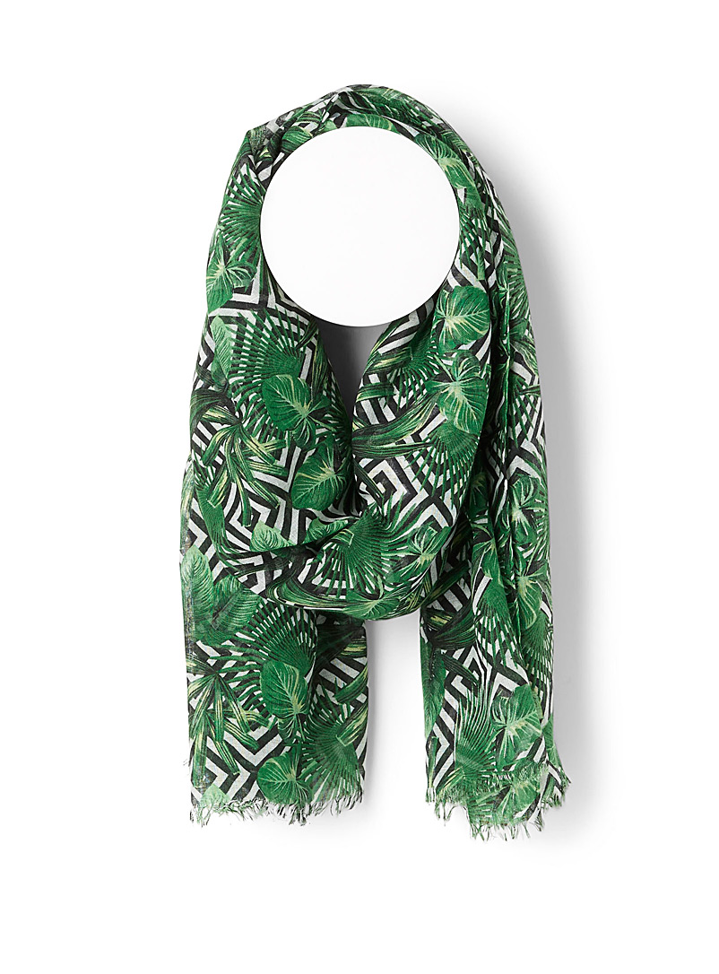 Simons Patterned Green Tropical geo scarf for women