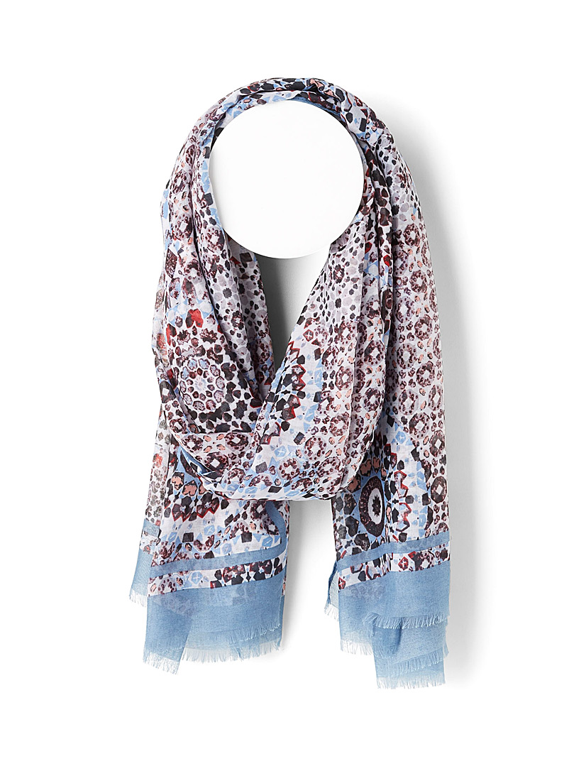 Simons Patterned Blue Antique medallion scarf for women