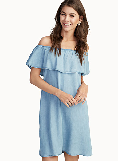 Ruffled-trim bare-shoulder dress