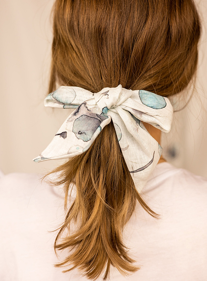 Gibou Baby Blue Large romantic linen bow for women