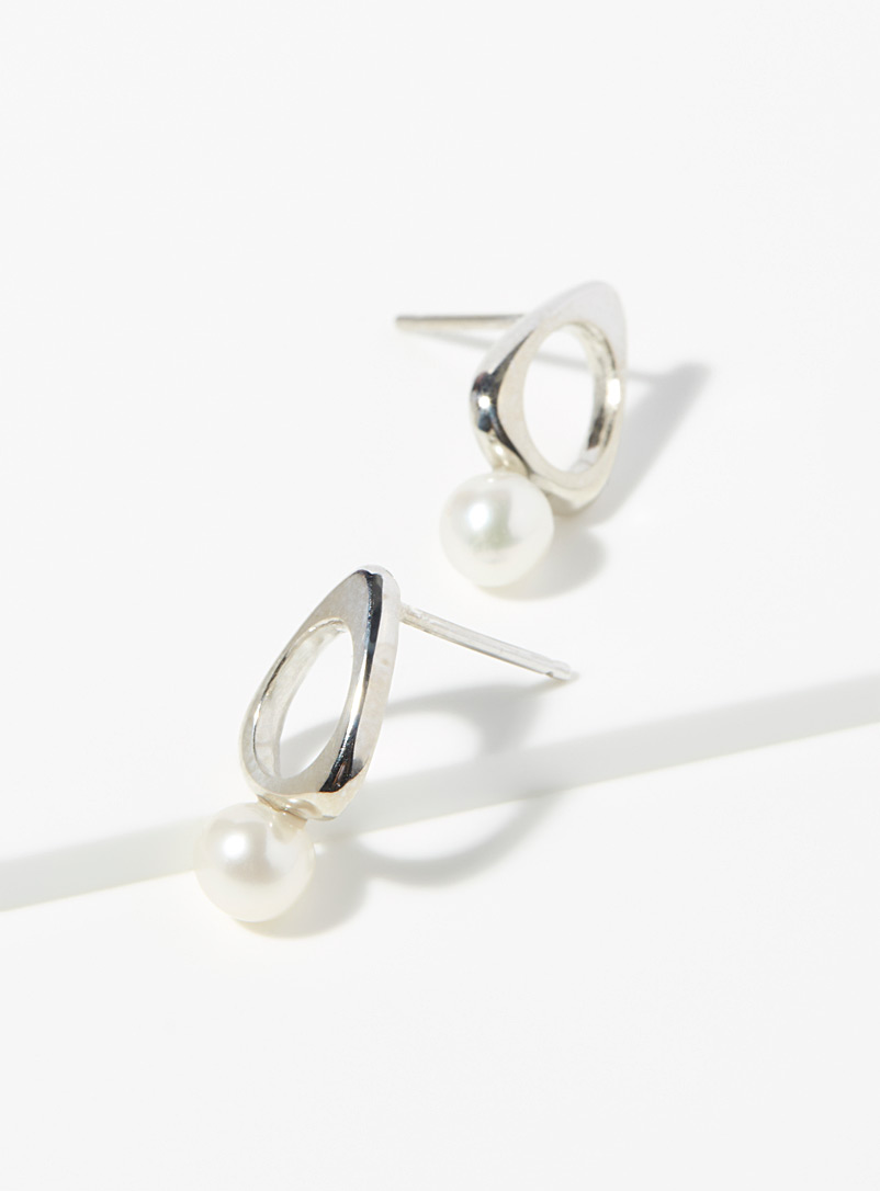 Jean bastien Silver Modern pearl earrings for women