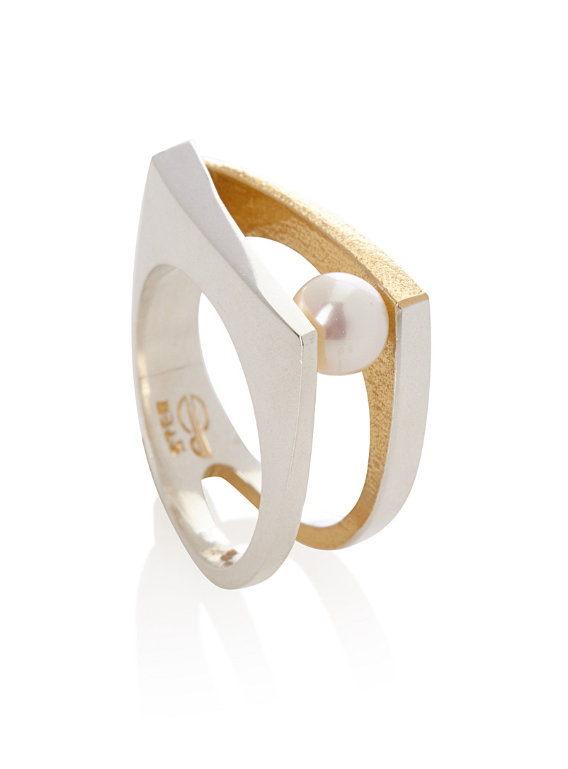 Pearly graphic ring - Rings - Golden Yellow