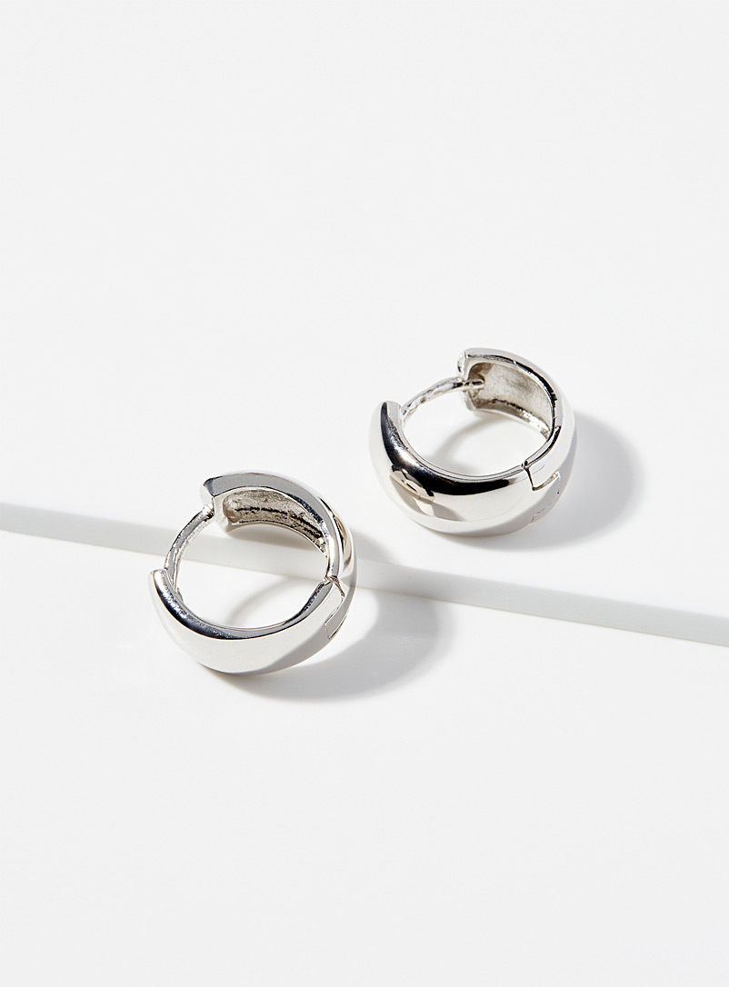 Sterling silver domed small hoops