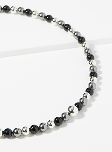 Mirror-like charcoal grey necklace