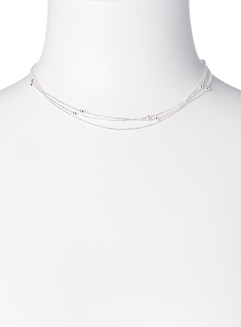 Clio blue Silver Triple-look necklace for women