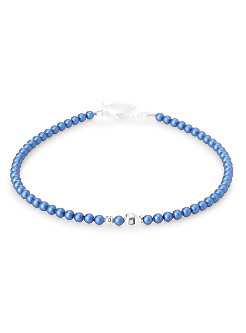 Clio blue Marine Blue Iridescent pearl necklace for women