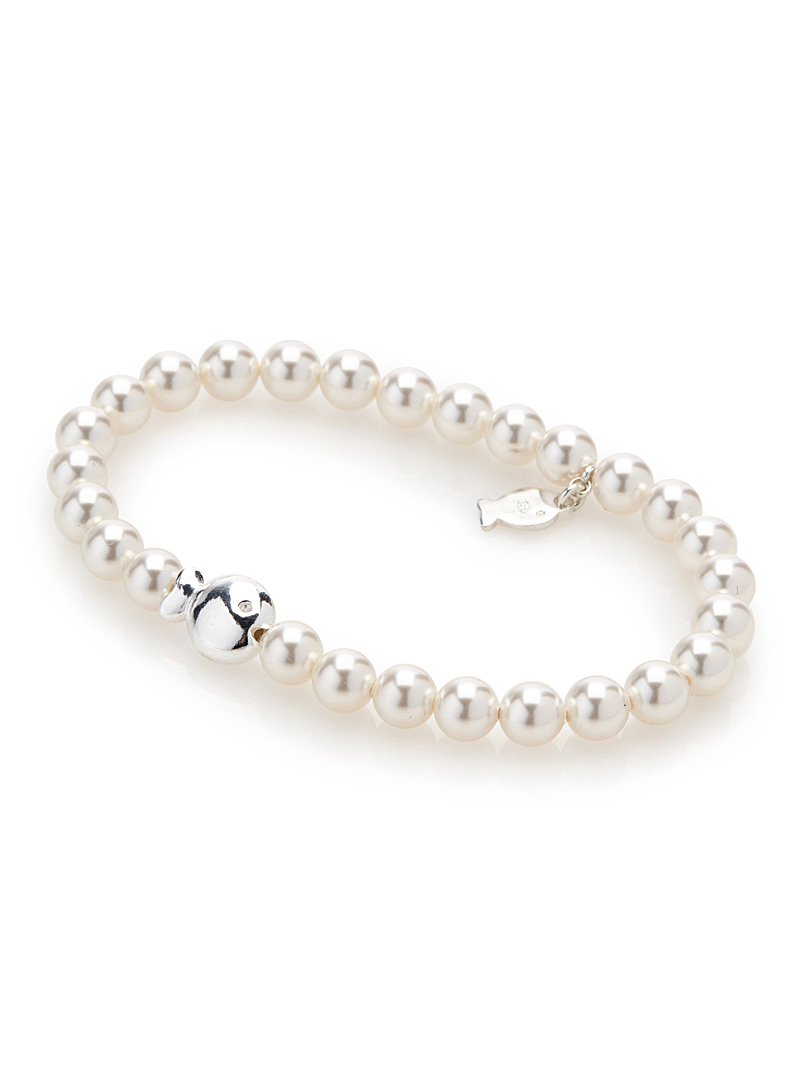 Small pearls and fish bracelet - Designer Jewellery - White