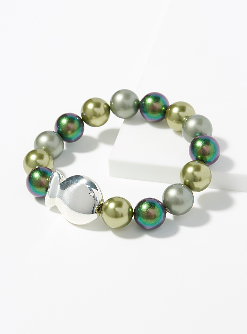 Clio blue Green Green pearl and fish bracelet for women