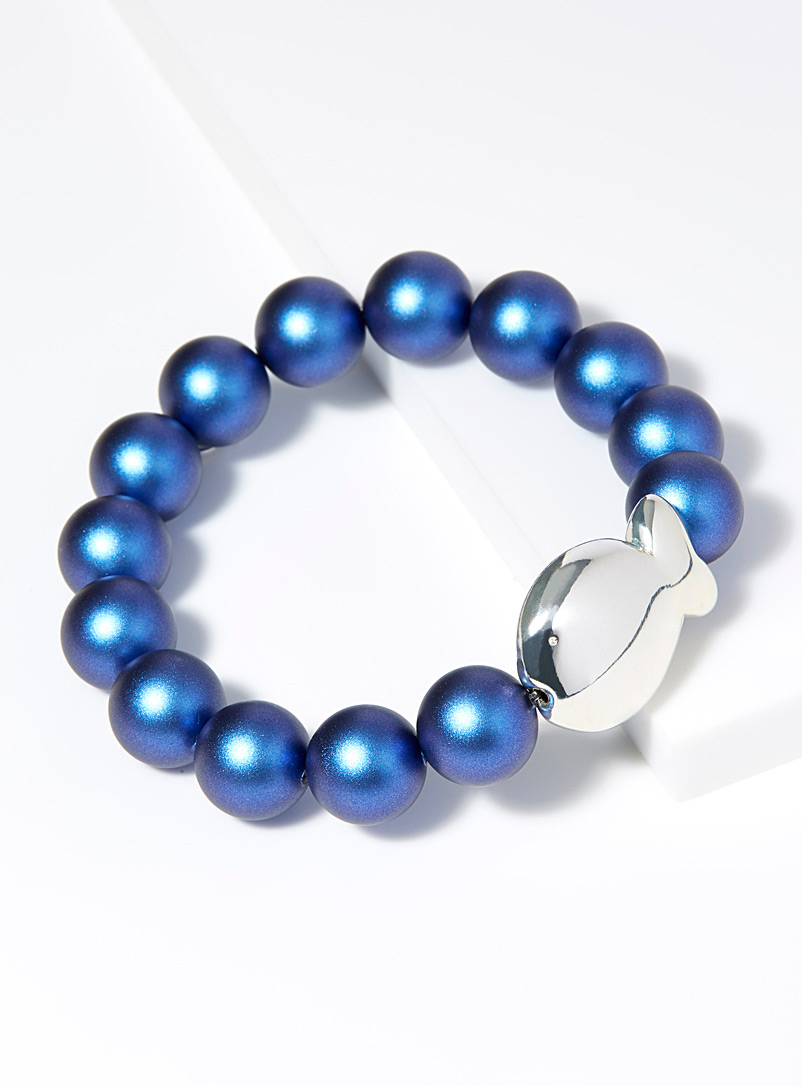 Clio blue Dark Blue Large iridescent pearl bracelet for women