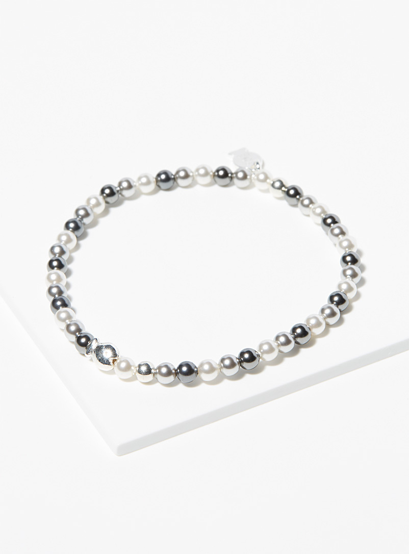 Clio blue Assorted silver Pearl and ash grey mini bead bracelet for women