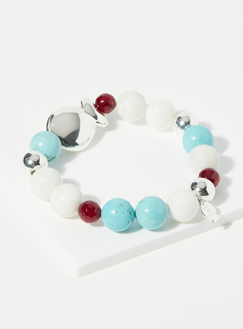 Clio blue Patterned White Amandine bracelet for women