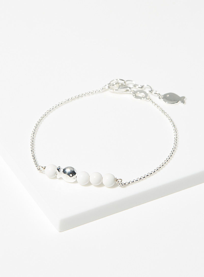 Clio blue Silver Pearly fish bracelet for women