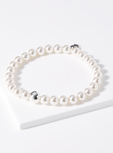 Pearly bead silver chain bracelet