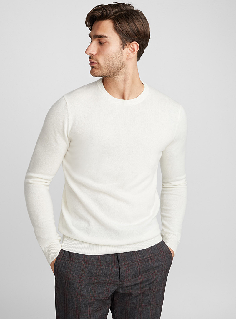 Le pull col rond pur cachemire - Cachemire - Ivoire blanc os