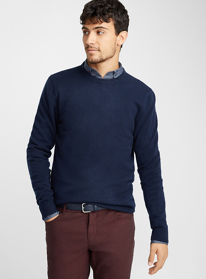 Le pull col rond pur cachemire - Cachemire - Marine