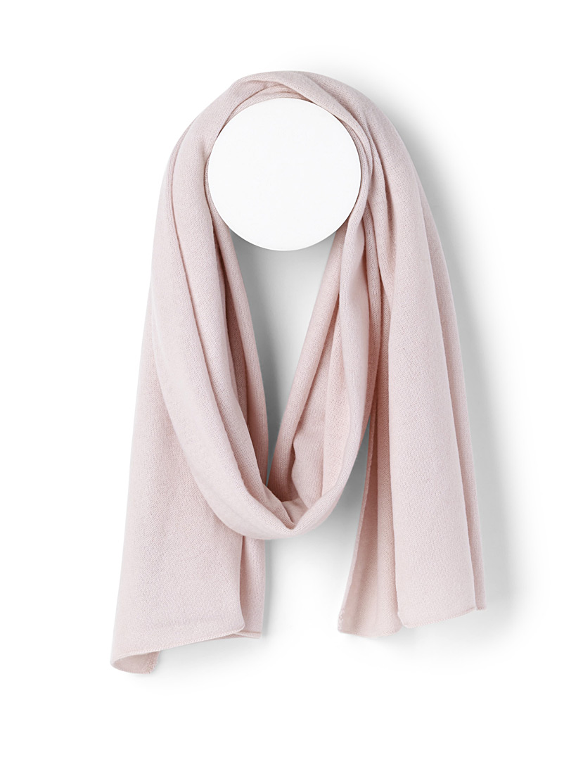 Pure cashmere knit scarf - Winter Scarves - Pink
