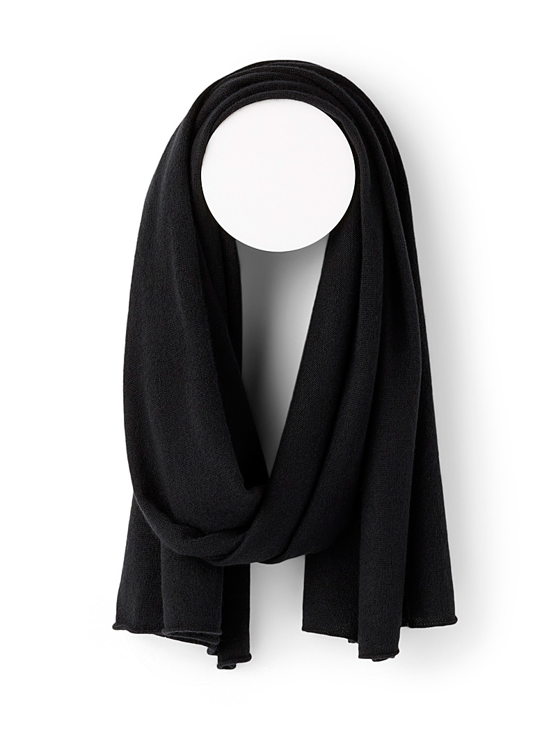 Simons Black Pure cashmere scarf for women